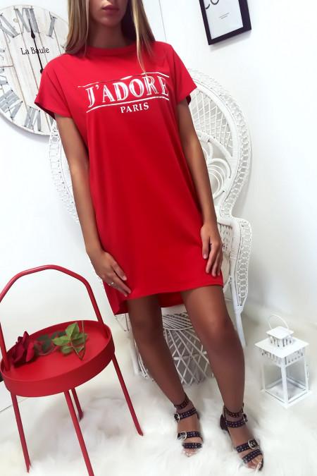 Rode T-shirtjurk met J'adore-schrift en zak. Tuniekjurk zeer comfortabel om te dragen