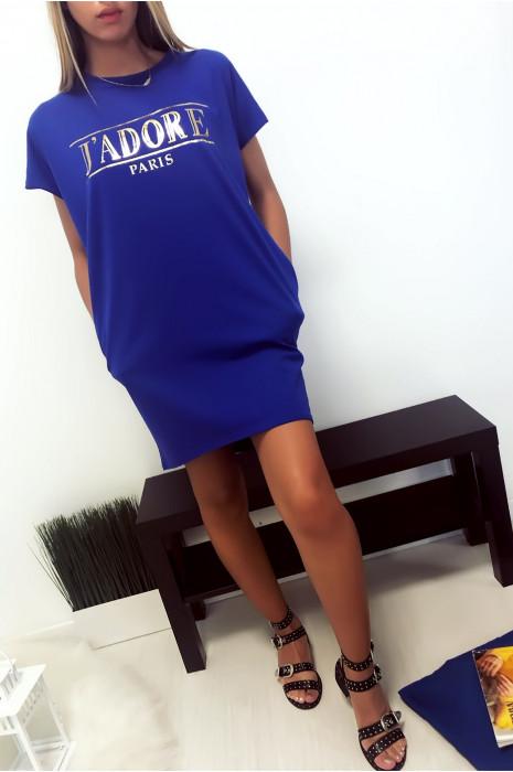 Robe T-shirt Royal avec écriture J'adore et poche,. Robe tunique très agréable à porter