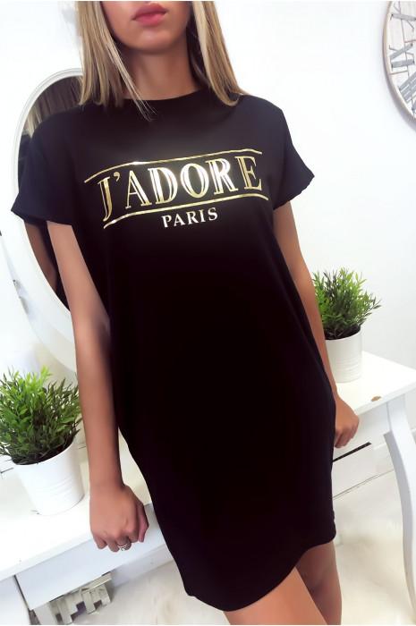 Robe T-shirt Noir avec écriture J'adore et poche,. Robe tunique très agréable à porter