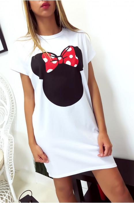 Robe T-Shirt ample Blanche avec tête de Minnie et poches