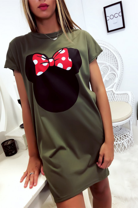 Loose Khaki T-Shirt Dress with Minnie Head and Pockets