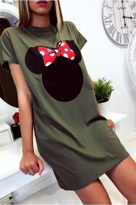 Robe T-Shirt ample Kaki avec tête de Minnie et poches