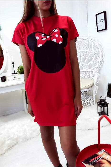 Robe T-Shirt ample Rouge avec tête de Minnie