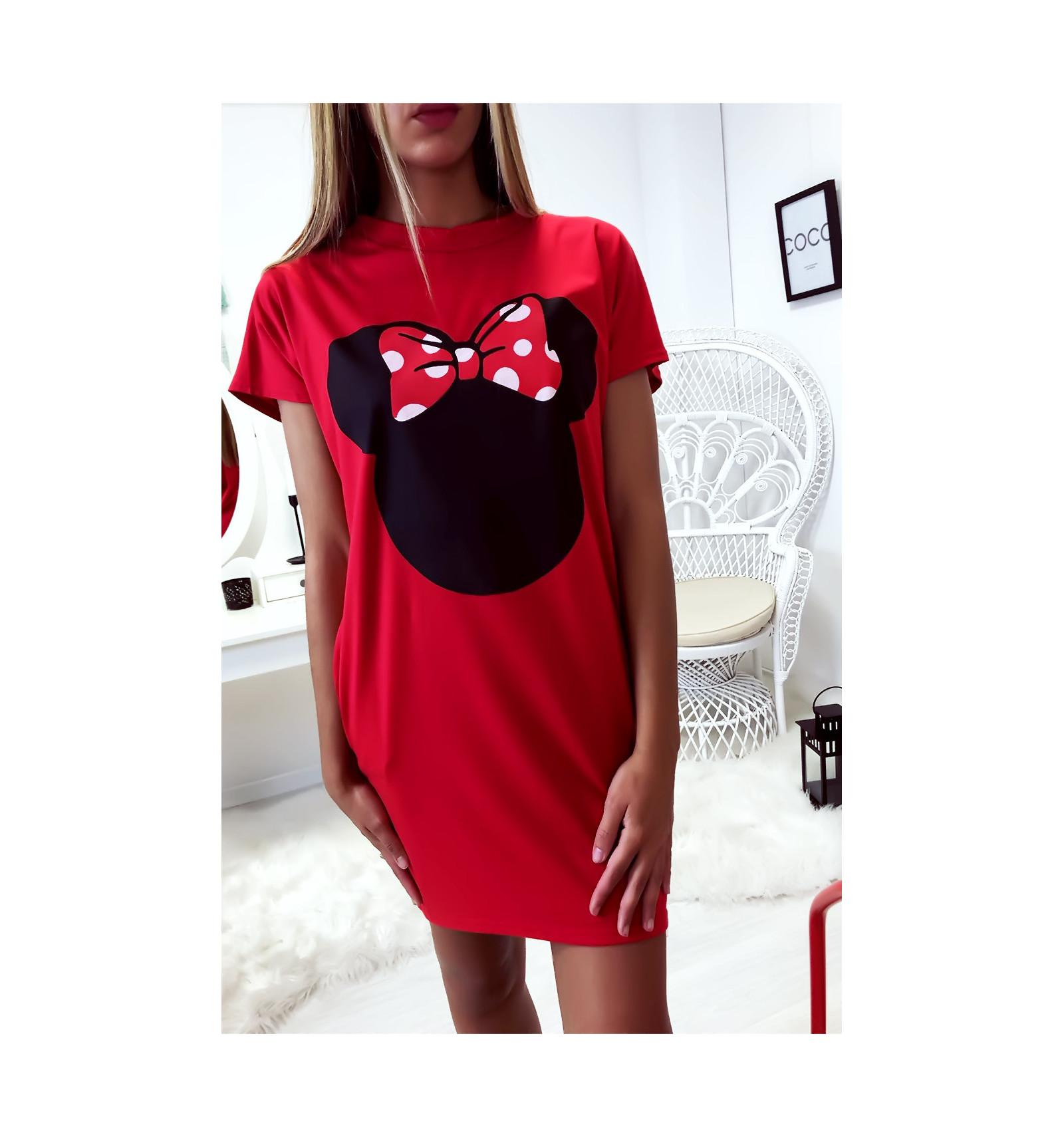 Robe T Shirt Ample Rouge Avec Tete De Minnie Et Poches