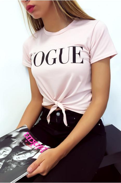 Jolie crop top Rose avec écriture Vogue et petit noeud