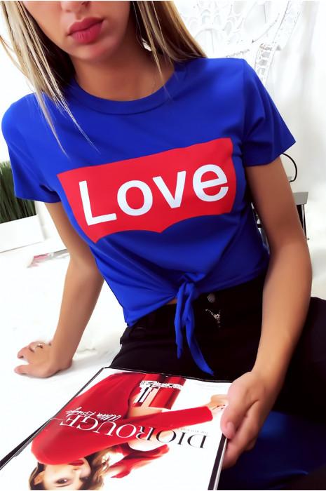 Super crop top Royal avec noeud et écriture LOVE