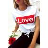 Super crop top Blanc avec noeud et écriture LOVE