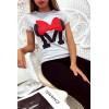 T-shirt gris en coton avec écriture M et papillon