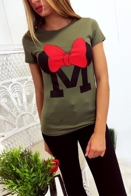 Khaki cotton T-shirt with M and butterfly writing