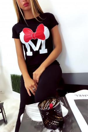 Zwart katoenen T-shirt met M en vlinderschrift
