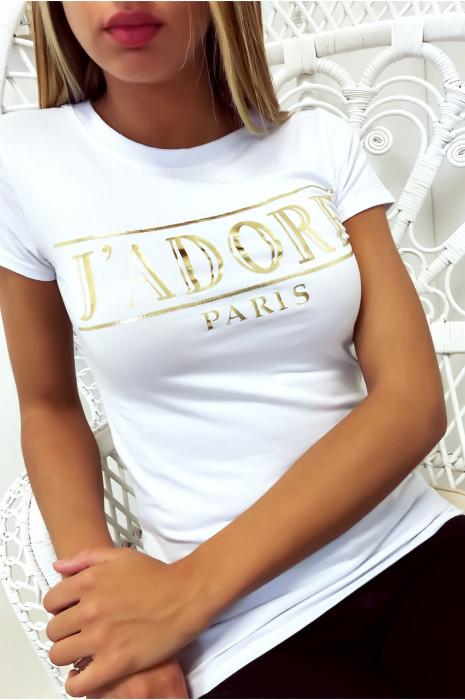 T-shirt blanc en coton avec écriture J'adore en doré