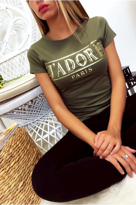 T-shirt kaki en coton avec écriture J'adore en doré