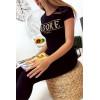 T-shirt noir en coton avec écriture J'adore en doré