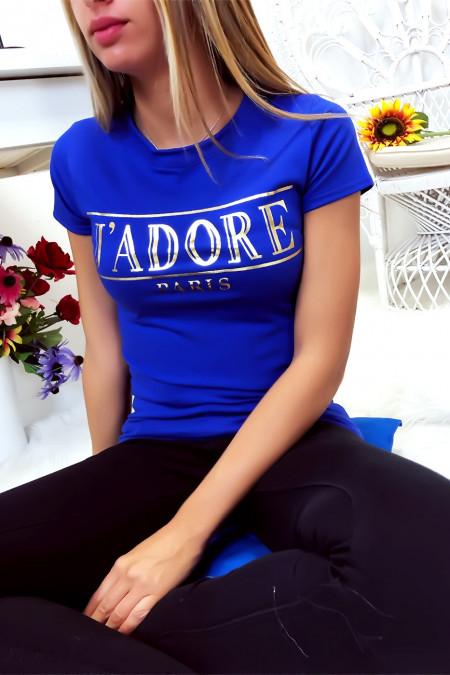 Royal katoenen T-shirt met J'adore in goud