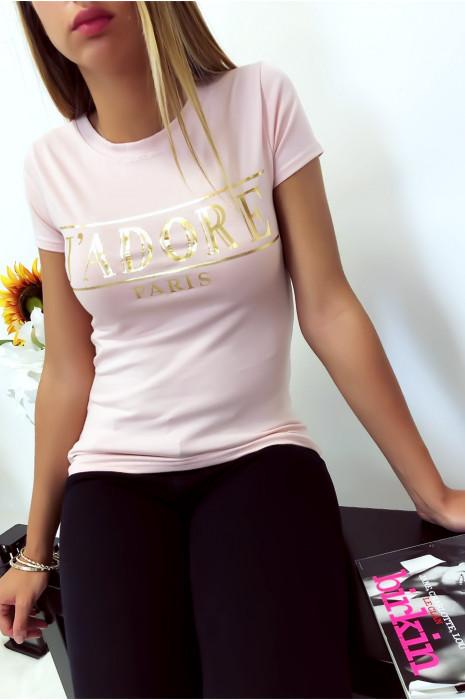 T-shirt rose en coton avec écriture J'adore en doré