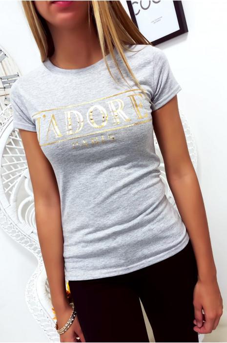 T-shirt gris en coton avec écriture J'adore en doré
