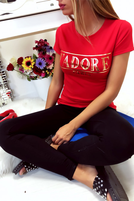 Red cotton T-shirt with J'adore writing in gold