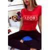 Rood katoenen T-shirt met J'adore in goud