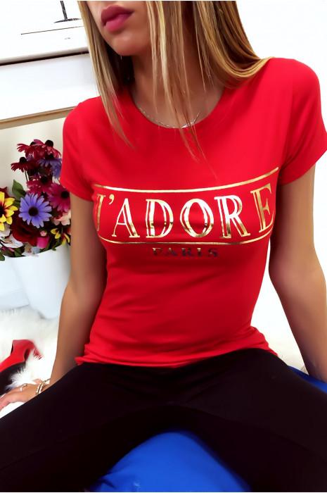 T-shirt rouge en coton avec écriture J'adore en doré