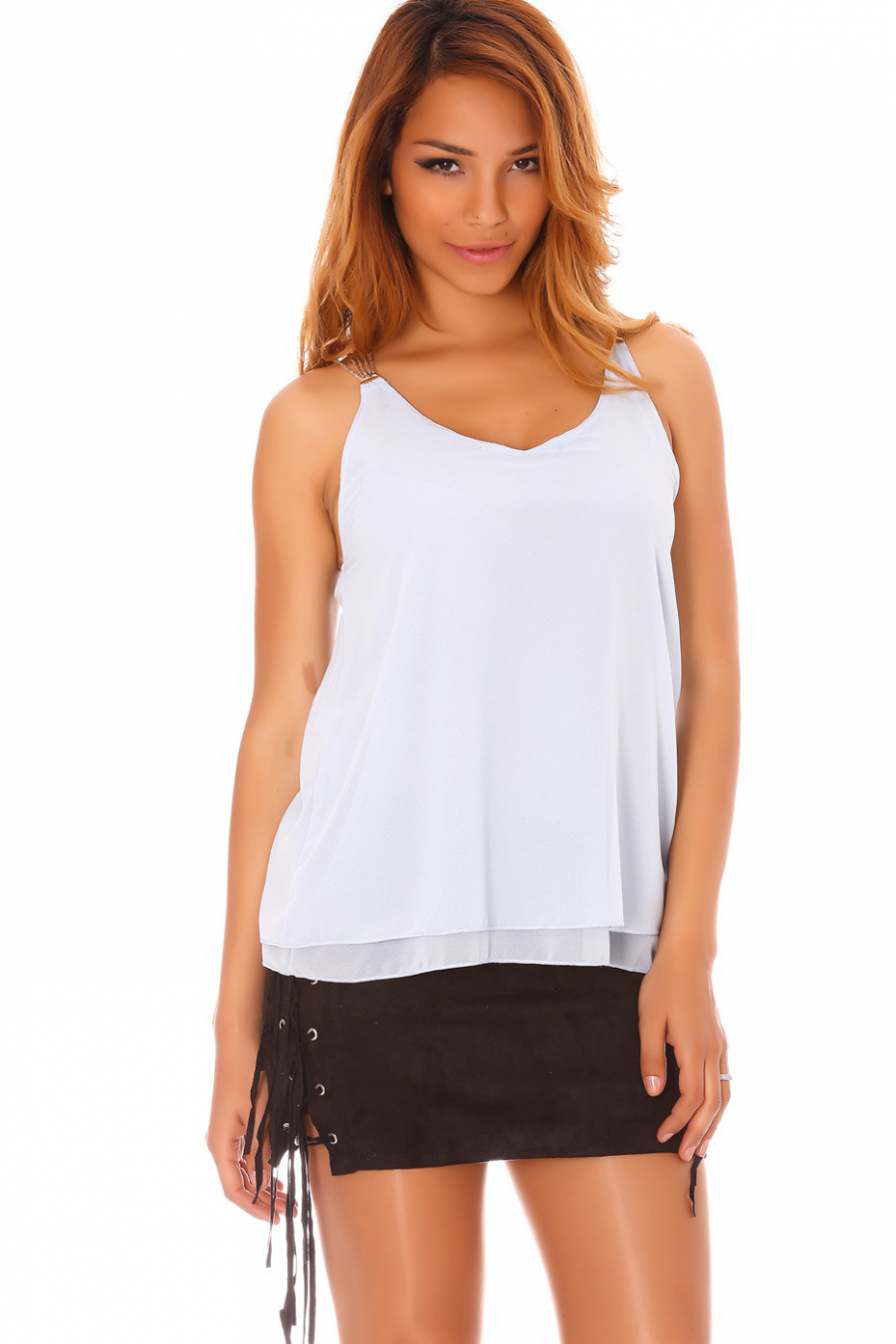 Blue sheer top with chain straps - MC1411