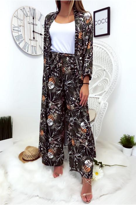 Jolie kimono long Kaki fleuri avec ceinture