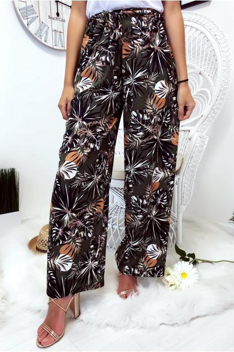 Pantalon palazzo kaki avec joli motif fleuri