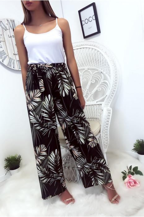 Zwarte palazzo broek met mooi bloemmotief