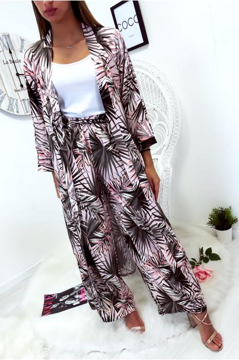 Jolie kimono long rose fleuri avec ceinture vendu sans le pantalon
