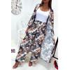 Jolie kimono long blanc fleuri avec ceinture vendu sans le pantalon