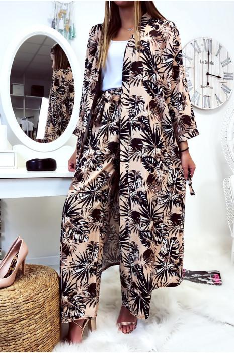 Jolie kimono long beige fleuri avec ceinture vendu sans le pantalon