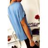 Jolie top Bleu basique avec ourlet sur le devant