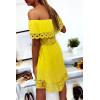 Sublime robe tunique moutarde col bateau ou col rond avec volant en dentelle