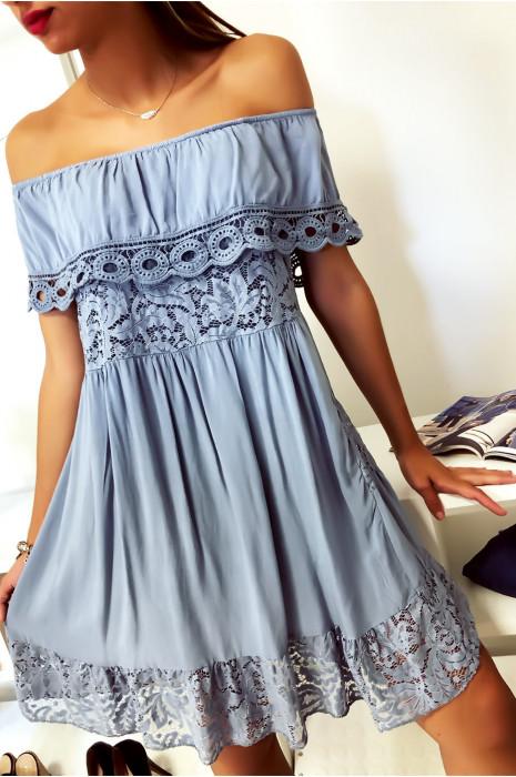Sublime robe tunique bleu col bateau ou col rond avec volant en dentelle