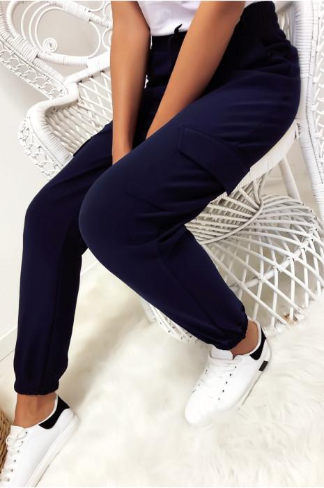 Pantalon treillis en marine avec poches et lacet