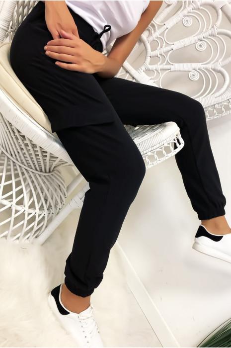 Pantalon treillis en noir avec poches et lacet