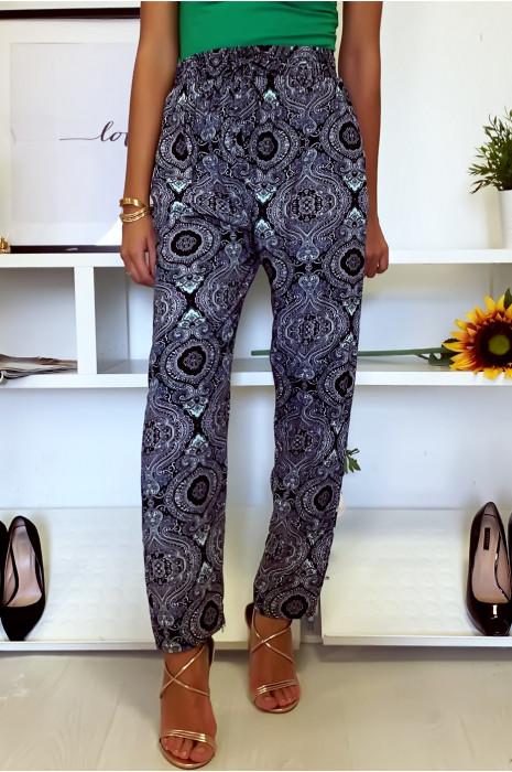 Superbe pantalon fluide Marine à motif noir avec poches