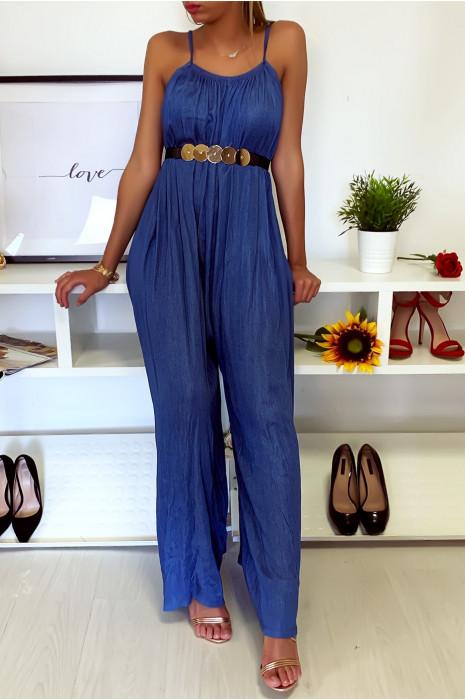 Superbe combi pantalon très ample Bleu à pattes def