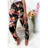 Pantalon fluide Noir avec motif fleurs et poches