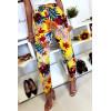 Soepelvallende broek zeer comfortabel om te dragen in katoen, geel bloemenpatroon met zakje en kant