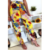 Pantalon fluide très agréable à porter en coton, motif fleuri jaune avec poche et lacet