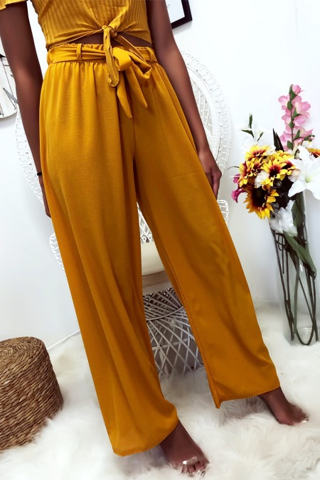 Mustard palazzo pants with soft and pleasant material belt. 1826