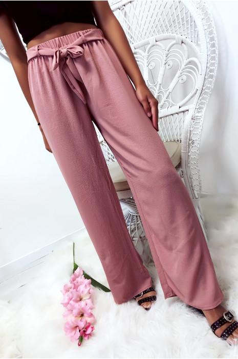 Roze palazzo broek met een zachte en prettige stoffen riem. 1826