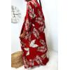 Long gilet rouge avec ceinture magnifique motif fleuris, vendu sans le pantalon