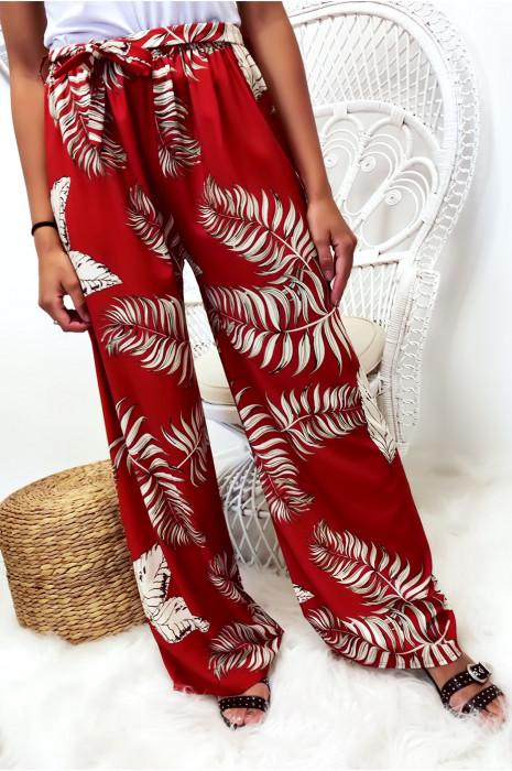 Pantalon palazzo rouge motif fleuris très à la mode