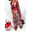 ensemble Rouge crop top et pantalon fluide à motif fleuri