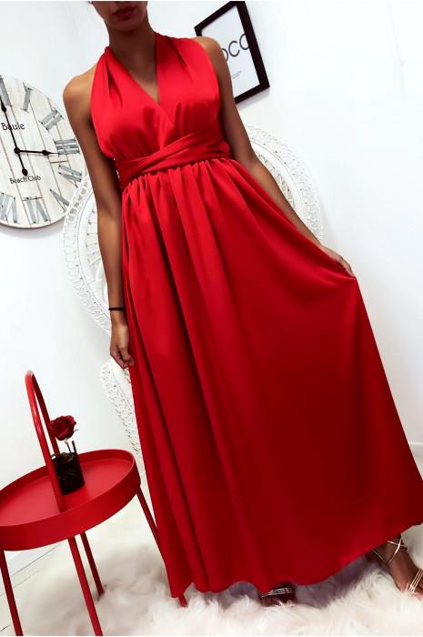 robe longue Rouge effet satin ample avec attache polyvalente