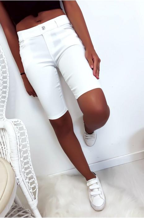 pantacourt Blanc basique avec poche