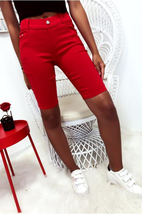 pantacourt Rouge basique avec poche