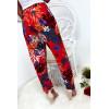 Pantalon fluide très agréable à porter en coton, motif fleuri rouge avec poche et lacet
