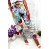 Soepelvallende broek zeer comfortabel om te dragen in katoen, turkoois bloemenpatroon met zak en kant
